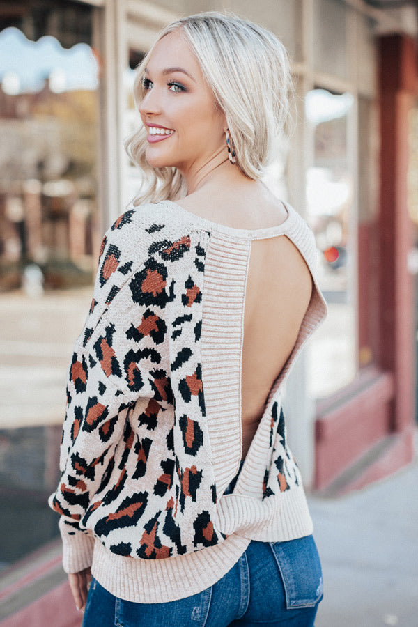 Plaza Party Open Back Leopard Sweater In Iced Mocha