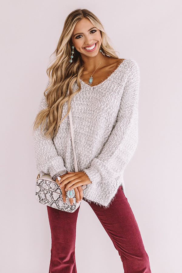 Toasty Vibes Knit Sweater In Grey