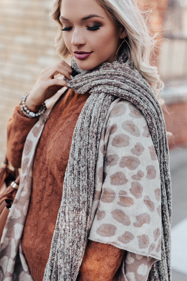 Snow Retreat Chenille Scarf in Taupe