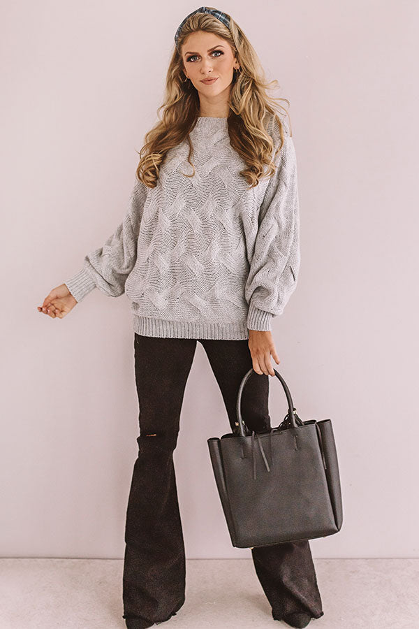 Pure Love Knit Tunic Sweater In Grey