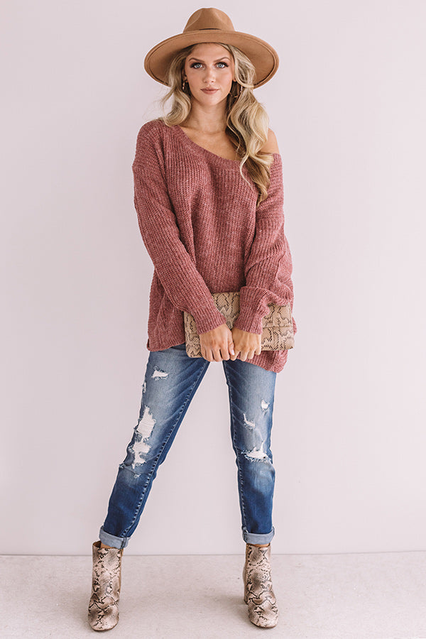 Bliss Within Open Back Knit Sweater In Vineyard Grape