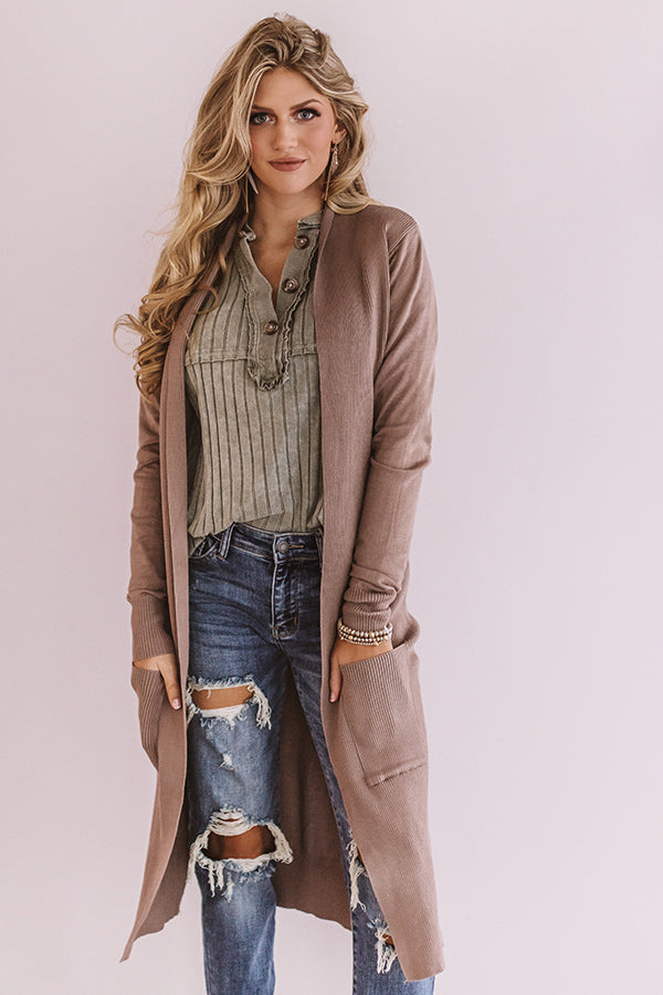 Take It From The Top Cardigan In Taupe