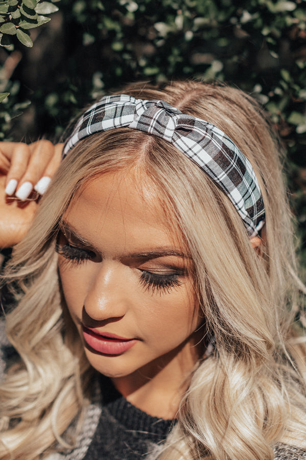 Girl About Town Plaid Headband In White