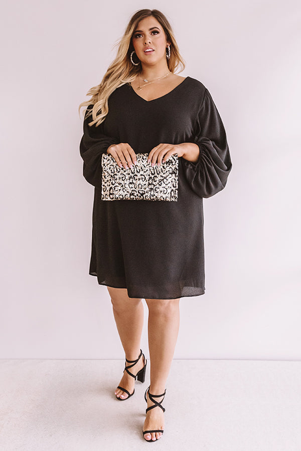 Primed To Party Shift Dress In Black