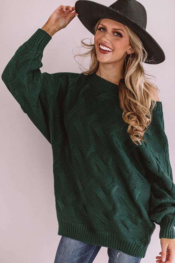 Pure Love Knit Tunic Sweater In Hunter Green