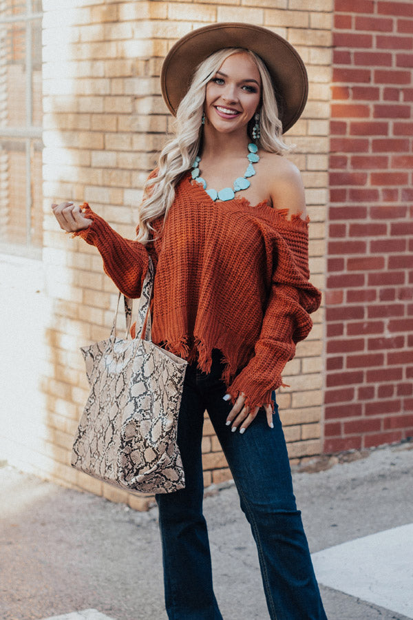 Pure Happiness Knit Sweater In Orange