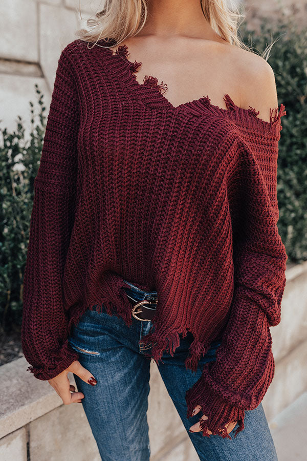 Pure Happiness Knit Sweater In Windsor Wine