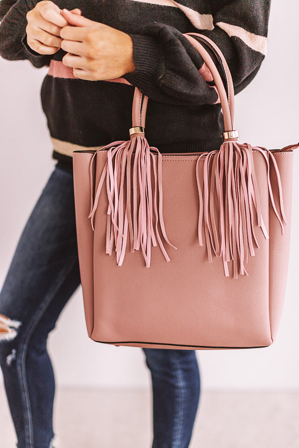 Style Profile Faux Leather Tote In Blush