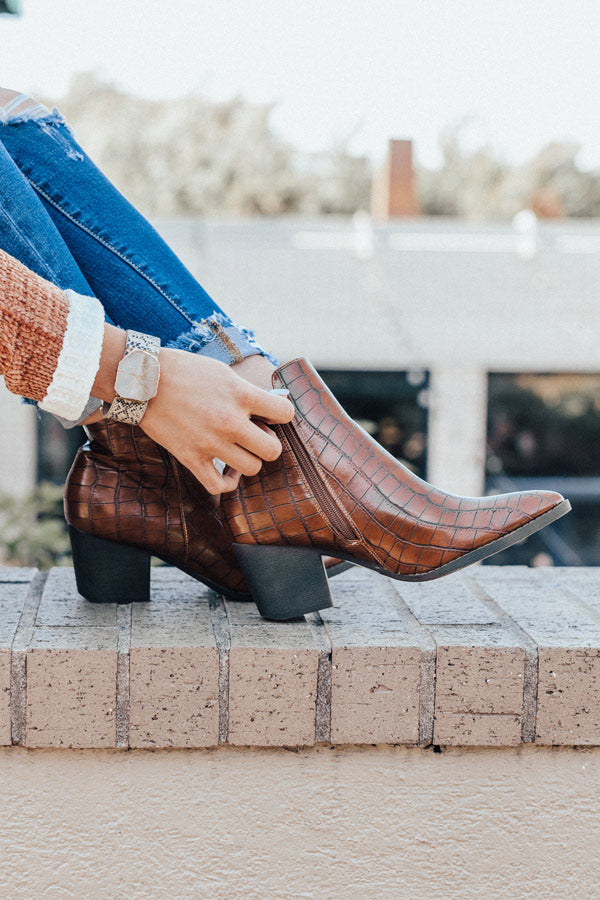 The Ramsey Faux Leather Bootie In Cinnamon