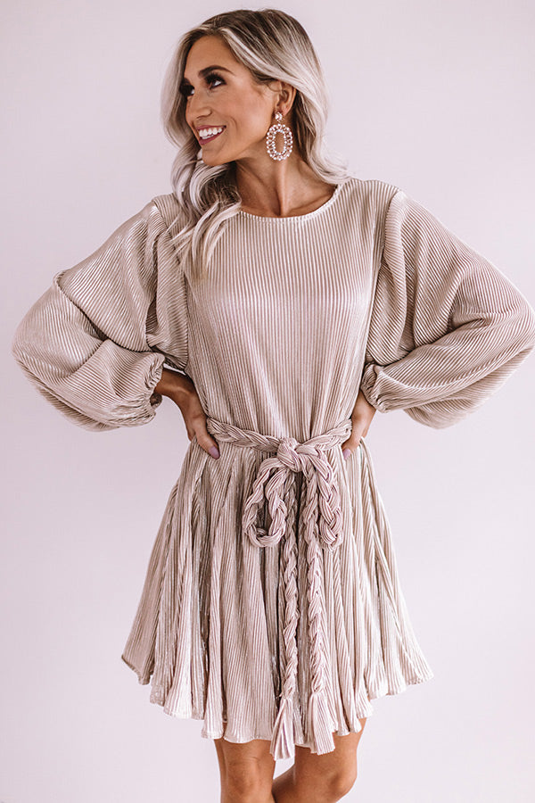 Friendly In France Pleated Shift Dress In Champagne