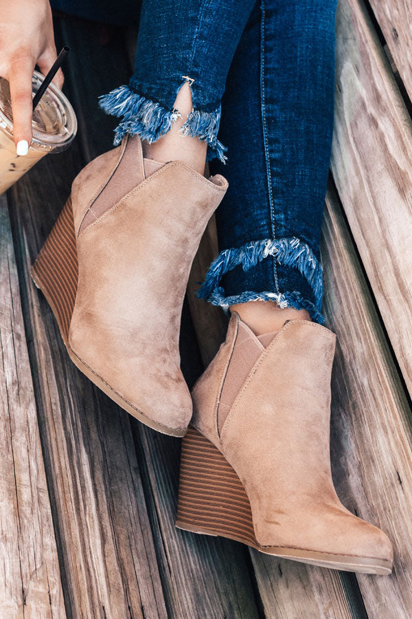 The Cort Faux Suede Bootie In Warm Taupe