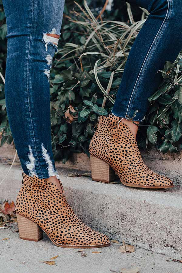 The Corey Faux Suede Cheetah Bootie