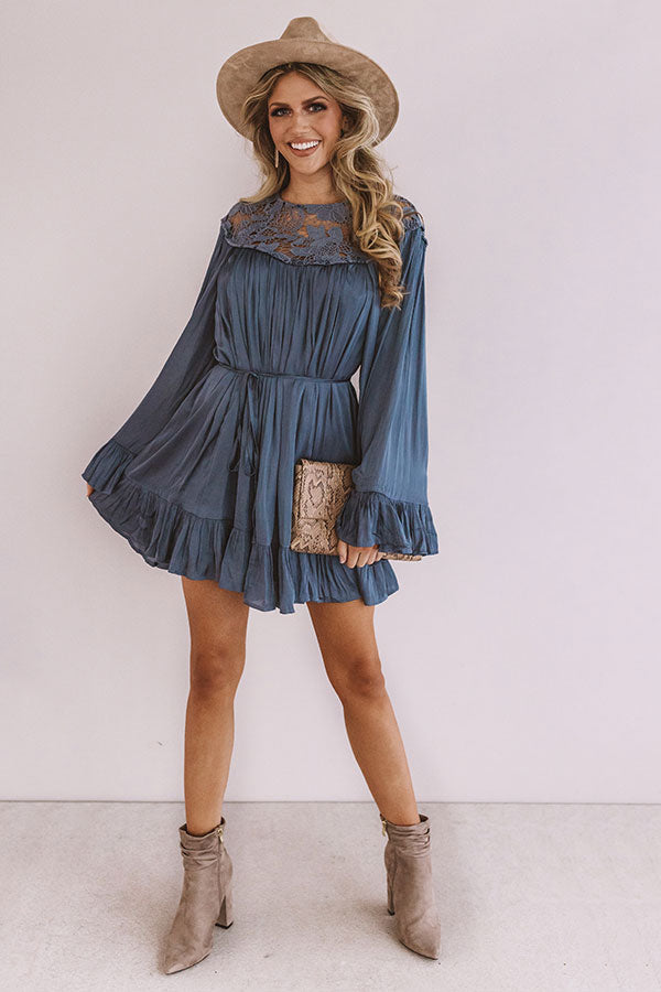 Simply Poetic Pleated Shift Dress In Autumn Sky