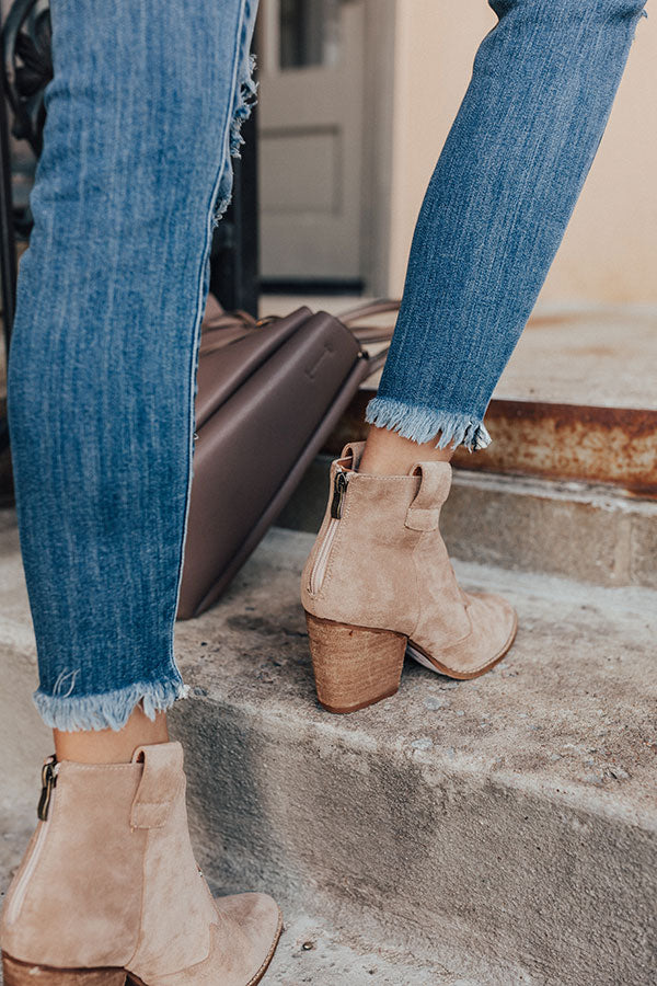 The Corey Faux Suede Bootie In Iced Latte