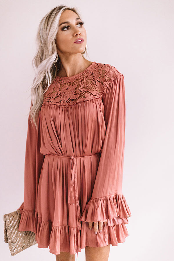 Simply Poetic Pleated Shift Dress In Rose