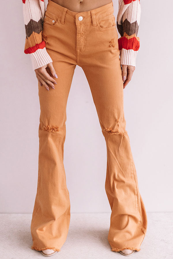 The Gabby Distressed High Waist Flare In Light Pumpkin