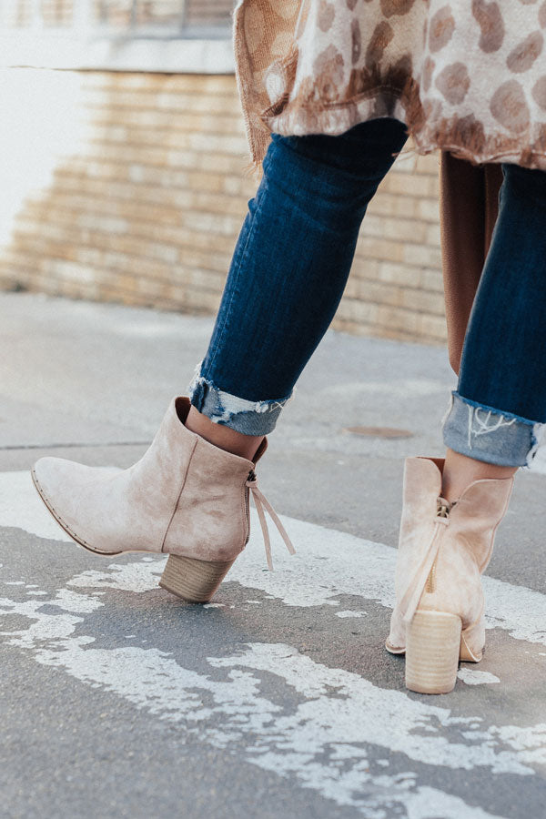 The Blaire Faux Suede Bootie In Light Latte