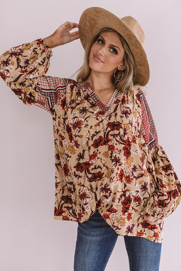 Sugar On Top Floral Shift Top in Beige