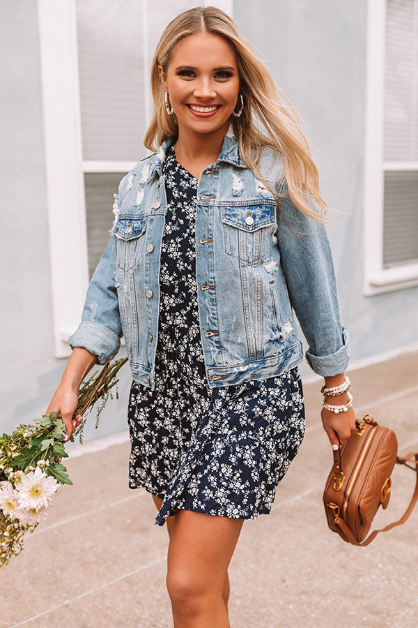 Strolling Through Downtown Distressed Denim Jacket
