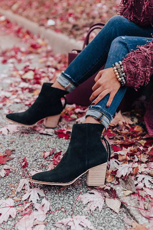 The Blaire Faux Suede Bootie In Black