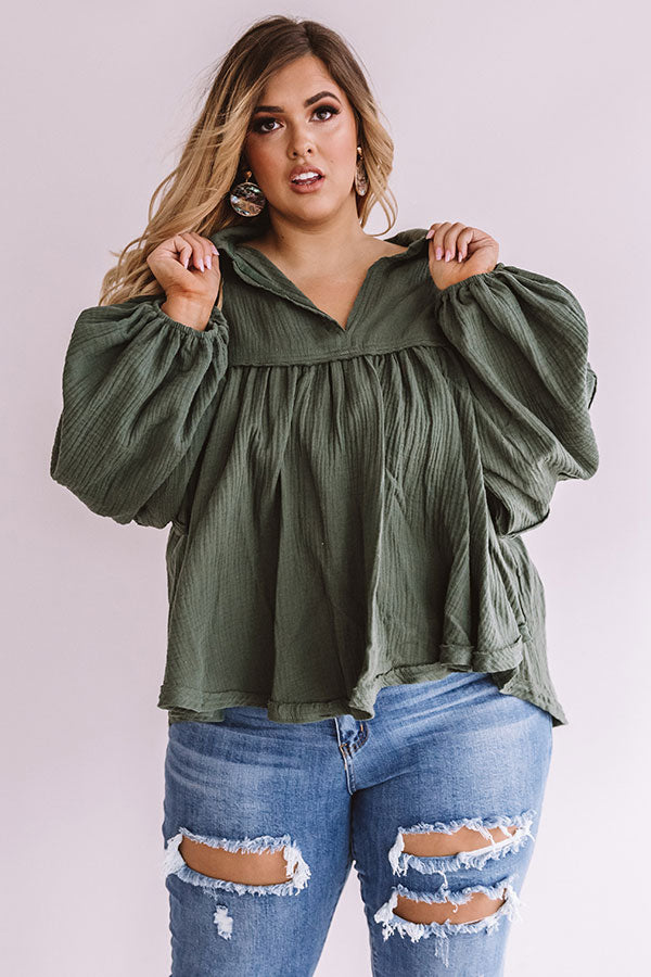 Chic Charms Babydoll Top In Hunter Green