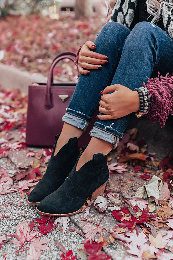 The Corey Faux Suede Bootie In Black