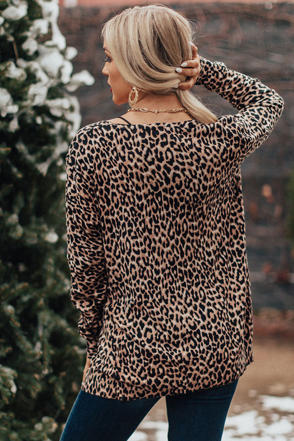 Scoop Me Up Leopard Cardigan in Brown
