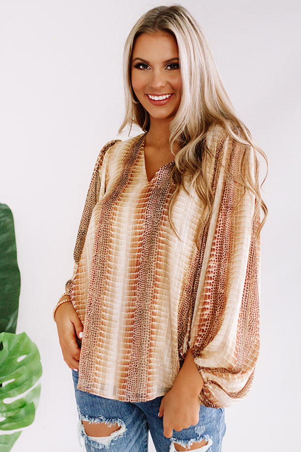 Runaway Fabulous Snake Print Shimmer Shift Top In Brown