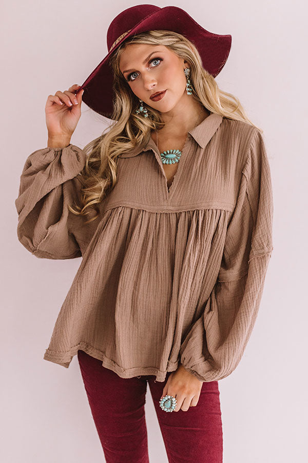 Chic Charms Babydoll Top In Martini Olive