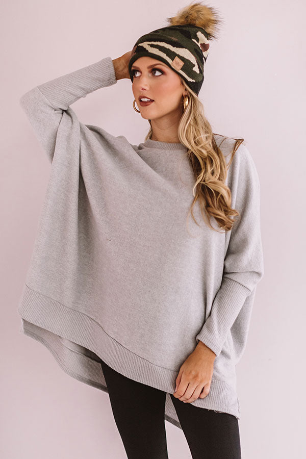 Call Me Cutie Shift Sweater in Grey