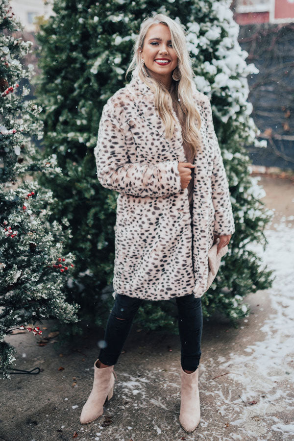 Luxe Experience Plush Leopard Coat