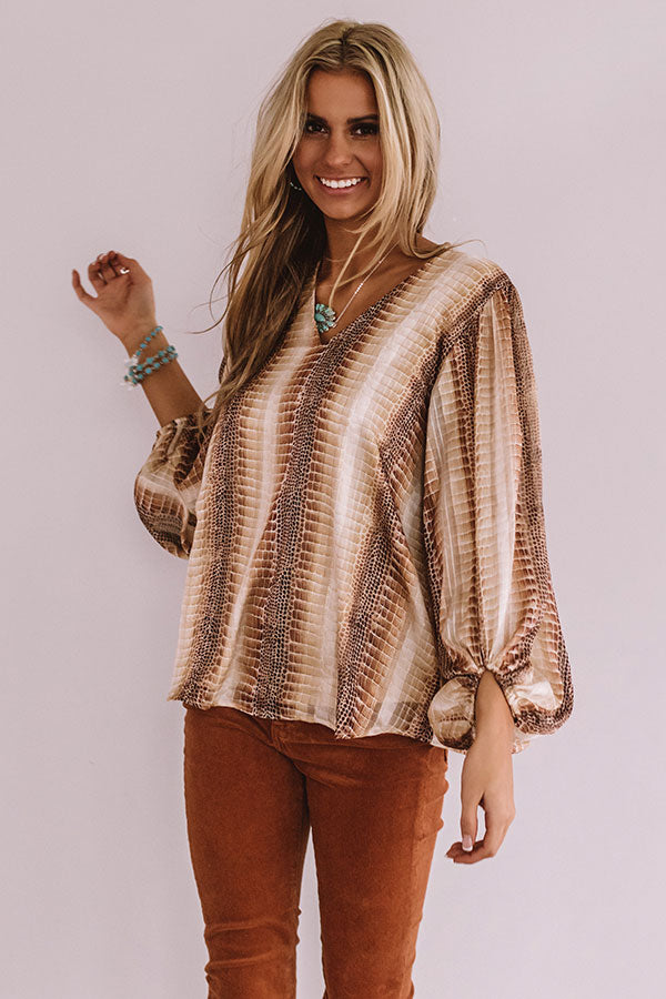 Runaway Fabulous Shimmer Shift Top In Beige