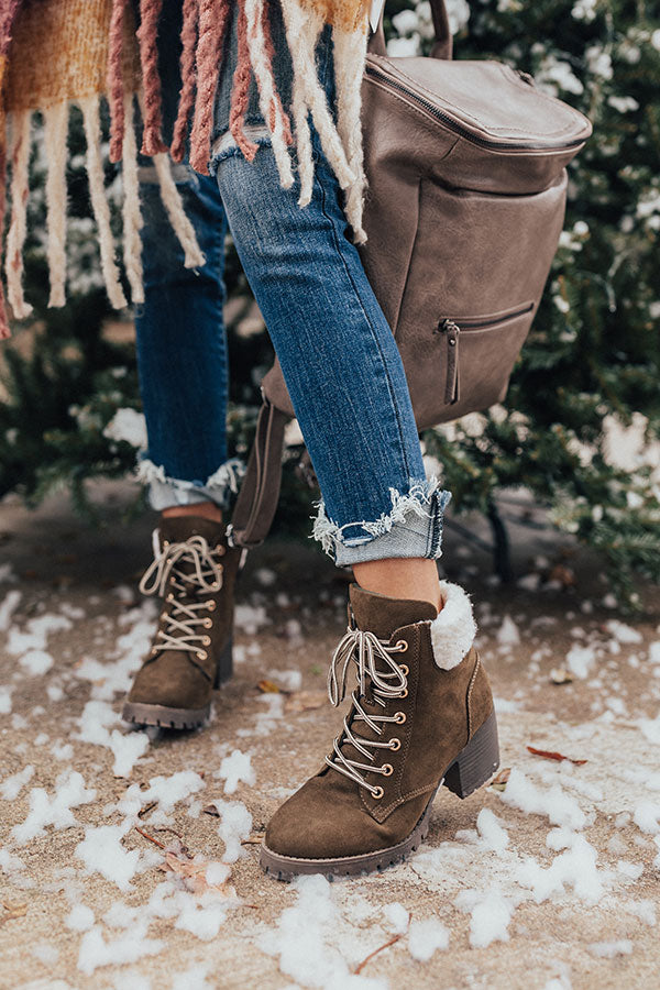 The Brooklyn Faux Suede Boot In Army Green