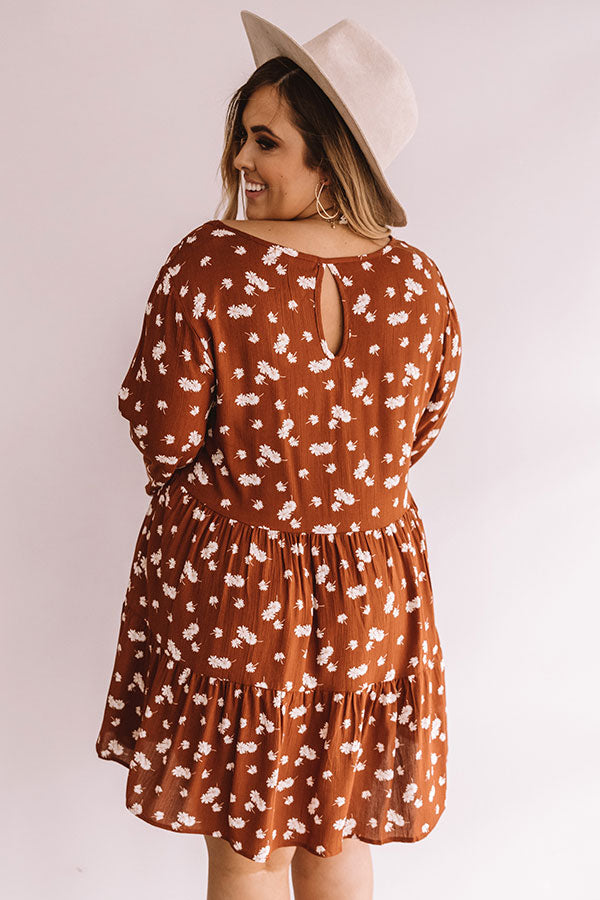 Strolling Through Downtown Floral Shift Dress in Cinnamon