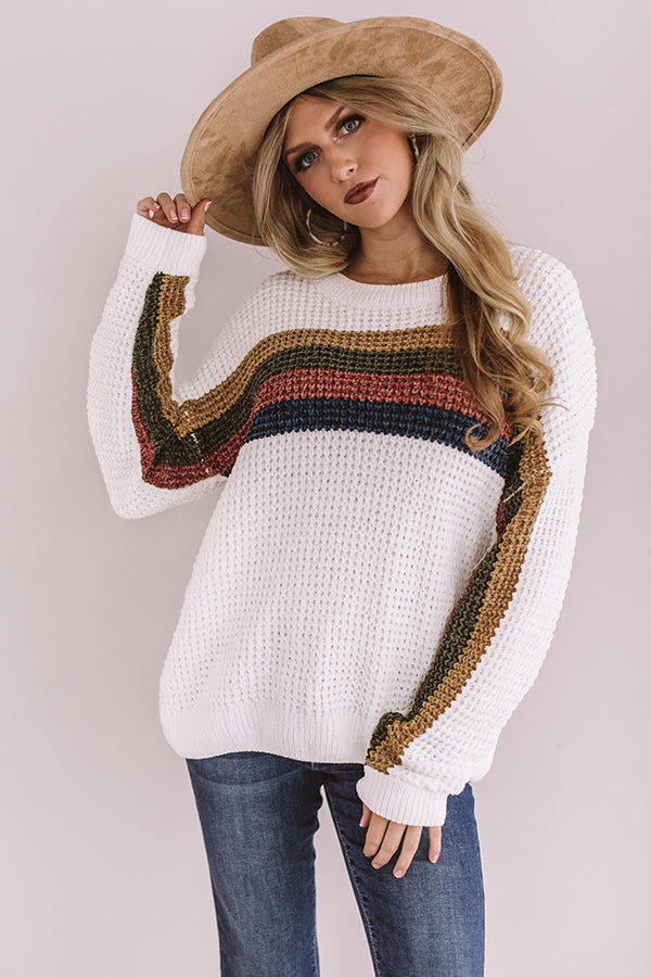 Horizon Point Chenille Sweater in White