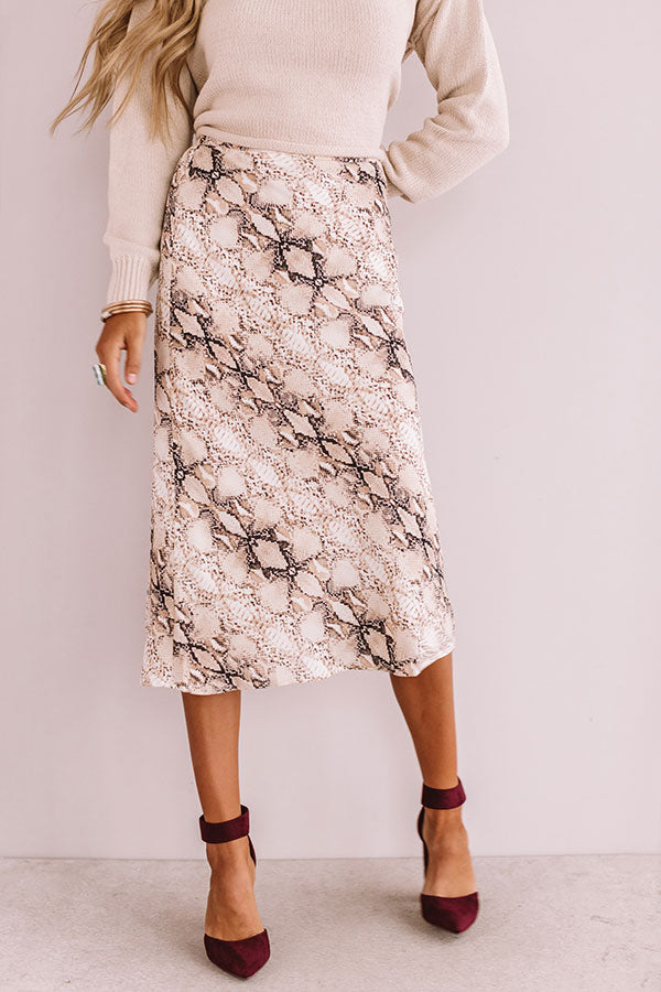 Wow Factor Snake Print Midi Skirt