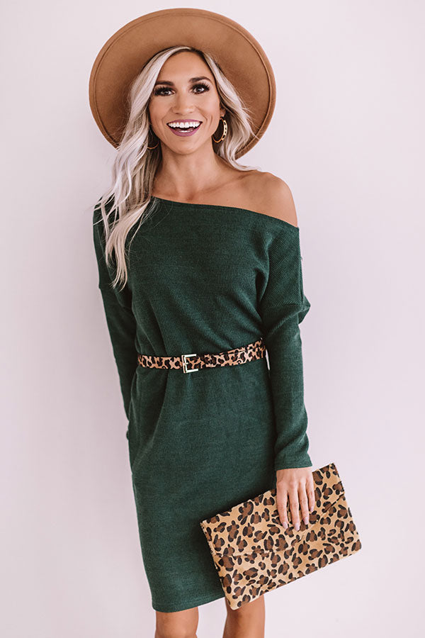 Girls Weekend Sweater Dress In Hunter Green
