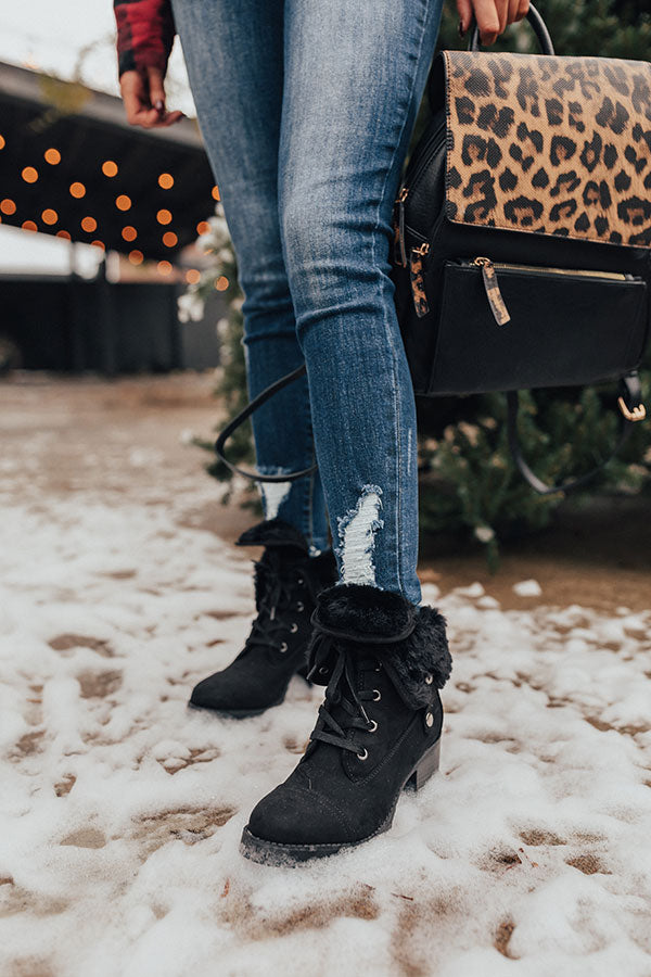 The Arielle Faux Fur Lined Boot In Black