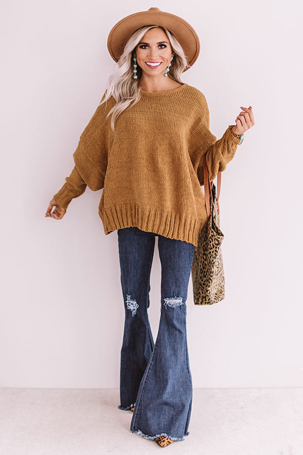 Turn Back Time Open Back Sweater In Mustard