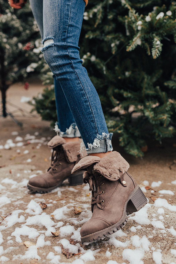 The Arielle Faux Fur Lined Boot In Chesnut