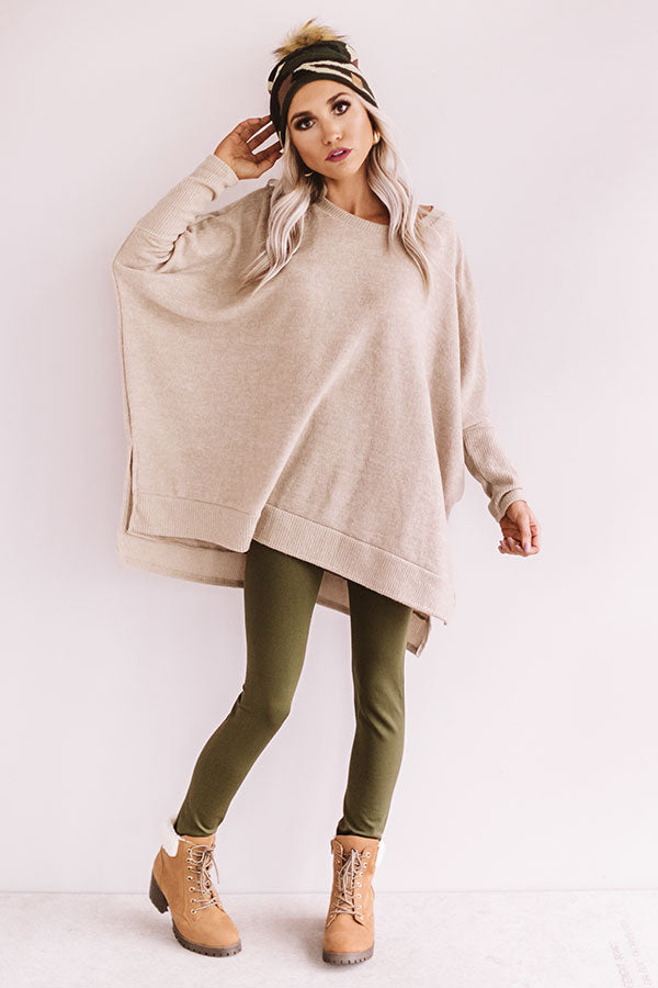 Call Me Cutie Shift Sweater in Beige
