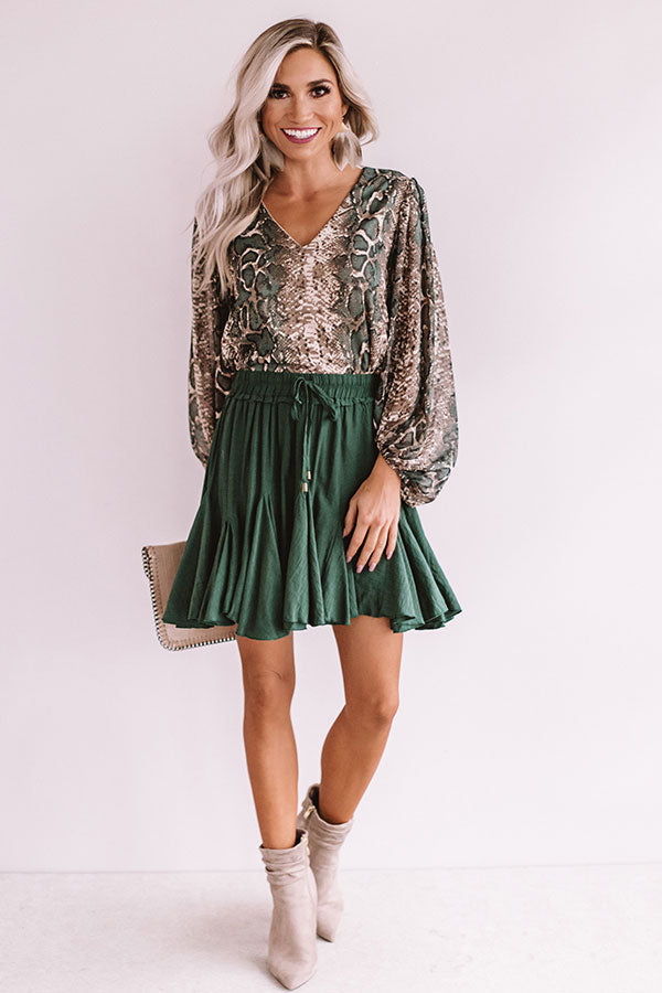 Runaway Fabulous Snake Print Shimmer Shift Top In Taupe