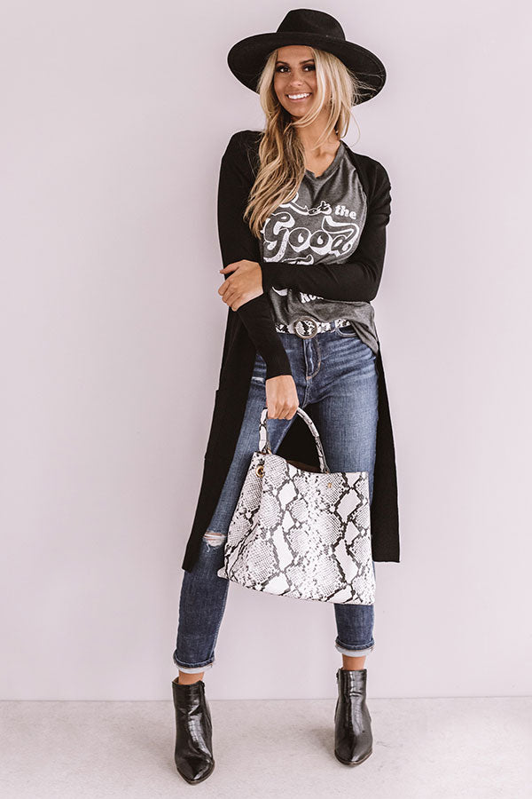 Let The Good Times Roll Boyfriend Tee In Charcoal
