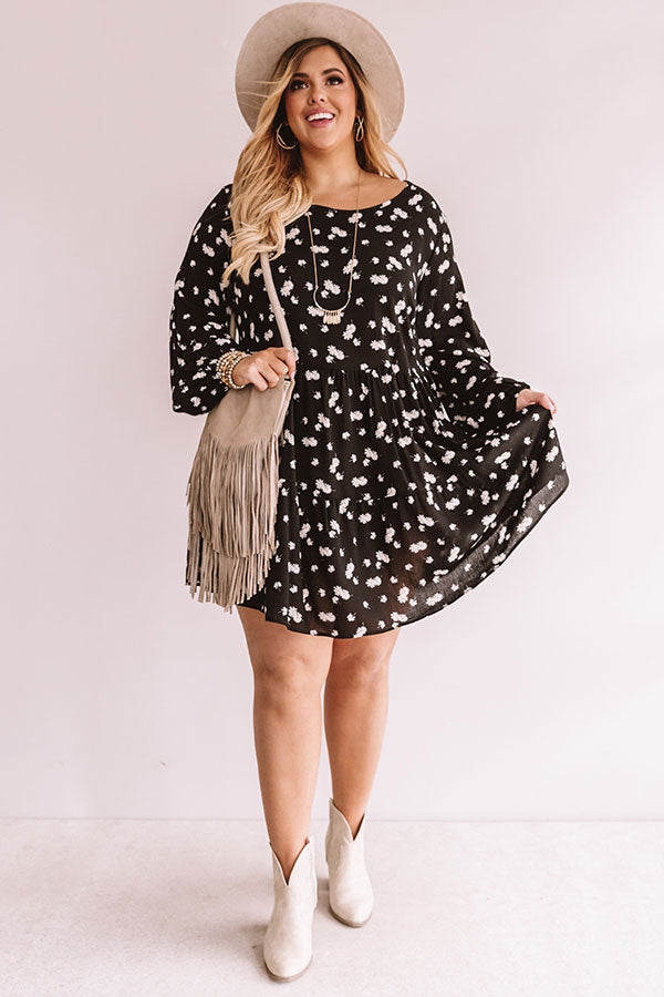 Strolling Through Downtown Floral Shift Dress in Black
