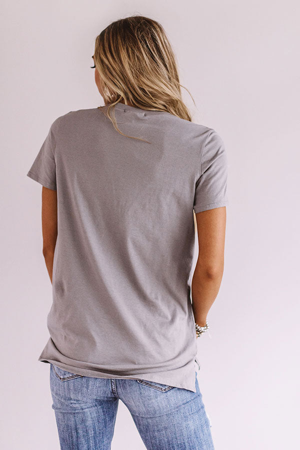 Johnny Cash Distressed Boyfriend Tee In Grey