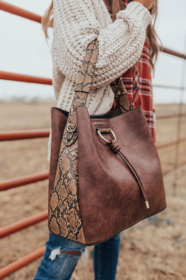 The City Life Faux Leather Tote In Chestnut