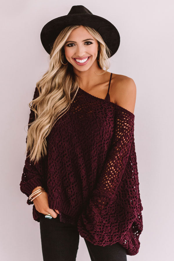 Craving Comfort Knit Sweater in Windsor Wine