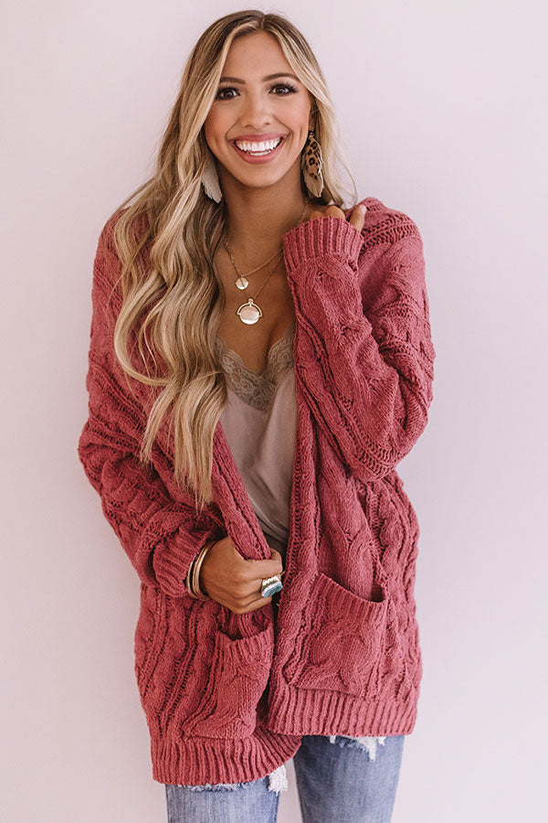 Own Knit Girl Cardigan In Rose