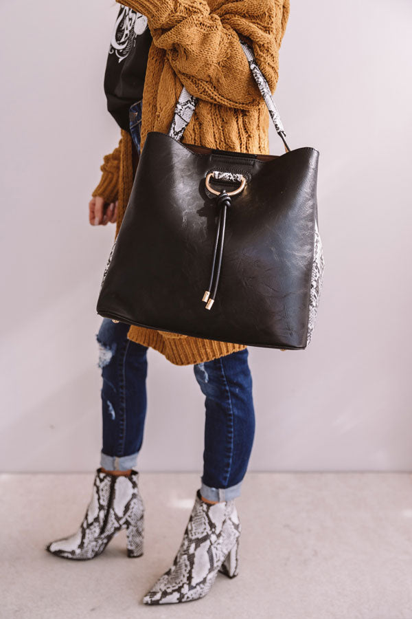 The City Life Faux Leather Tote In Black