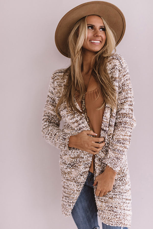 Winter Park Wonderland Knit Cardigan in Brown